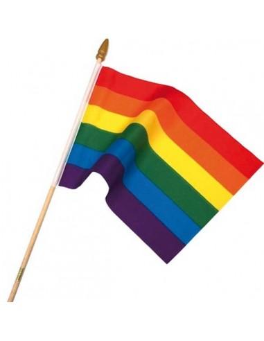 Rainbow Flag On Stick Large
