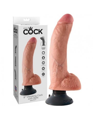 9 inch Vibrating Cock with Balls Flesh